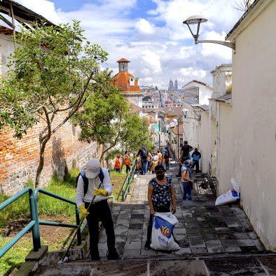 El Panecillo Stairs Minga Clean Up Quito Bike Tours